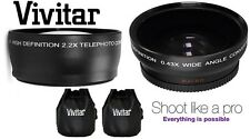 2Pc HD 2.2x Telephoto & Wide Angle Lens Set For Panasonic Lumix DMC-FZ45 DMCFZ40