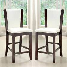 Manhattan Counter Height Dining Side Chair White PU Leather Wood in Dark Cherry
