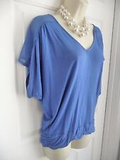 Top Shirt V-Neck Slouchy Express S Cobalt Blue Rayon Knit Gathered Shoulders
