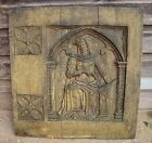 Gothic wall plaque, copy of Oak Panel, Scholar figure frost proof stone 48cm sq