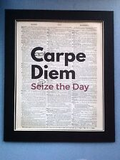 Carpe Diem Seize The Day Wall Hanging Antique Dictionary Page Art