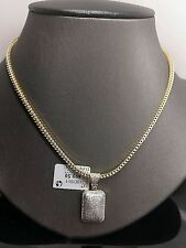 "10K Yellow Gold 0.51CT Diamond Dome Charm,Pendent With 26"" Franco Chain 6.2Gram"