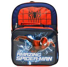 """New Marvel Amazing Spiderman 15"""" School Bag + Lunch Kit Backpack Rucksack Gift"""