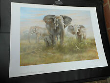 JOEL KIRK LARGE LIMITED EDITION PRINT ELEPHANTS VGC LOW POST