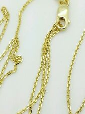 "10k Solid Yellow Gold Adjustable Cable Necklace Pendant Chain Up to 22"" .9mm"