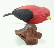 Hand-Carved & Painted Wooden Red Scarlet Tanagea America Songbird Bird