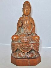 """7.9"""" Antique Chinese Carved Boxwood KWAN-YIN & Lotus from P. Schwartz Collection"""