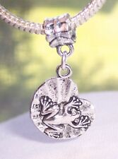 Frog on a Lilypad Toad Water Lily Animal Dangle Bead for European Charm Bracelet
