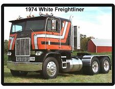 1974 White Freightliner Semi Truck Refrigerator / Tool Box  Magnet