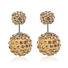 Sexy Sparkles Clay Earrings Double Sided Ear Studs Round Pave Champagne Rhinesto