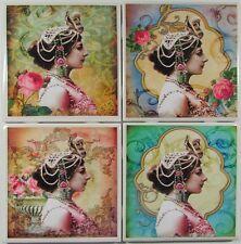 Set of 4 - Handmade Natural Stone Ceramic Tile Drink Coasters - Mata Hari - C