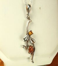 """STERLING Silver & AMBER Gemstone Pendant Necklace~New 16"""" Sterling Cable Chain"""
