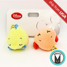 Disney Store Japan Little Mermaid Flounder & Sebastian Plush Keychain Strap Cute