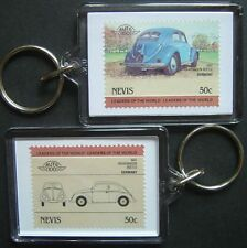 1947 VW VOLKSWAGEN BEETLE Car Stamp Keyring (Auto 100 Automobile)