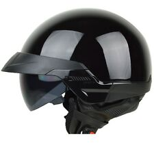 Size M - PGR B20 Gloss BLACK Aviator Motorcycle DOT Half Helmet Chopper Harley