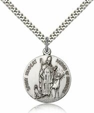 "Saint Hubert Of Liege Medal For Men Women - Sterling Silver Necklace 24"" Chain"