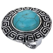 Attractive Tibetan Silver Women Jewelry Carved Round Turquoise Party Ring Gift