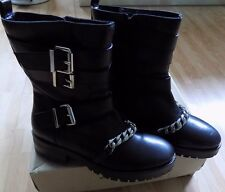 River Island ankle biker boots size 5 black leather zipped brand new