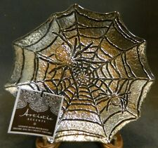 "Exquisite Handmade Genuine Silver & Glass Spider & Web Bowl 8.63"" x 1"" New w/Tag"