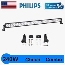 42'' 240W Philips SPOT FLOOD WORK DRIVING LED LIGHT BAR 12V24V 4WD JEEP TRUCK QU