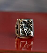 Pueblo Sterling Silver Ring Adobe House 3-D Size 9