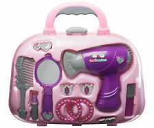 purple hair case childs kids hair dryer pretend girls brush mirror playset