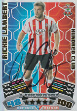 SOUTHAMPTON HAND SIGNED RICKIE LAMBERT 11/12 MATCH ATTAX CARD HUNDRED CLUB.