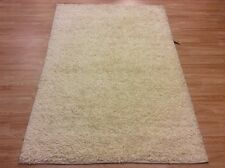 Plain Natural 100% Wool Cream Shaggy Rug Carpet SALE 75%OFF 140x200cm 5'x7'