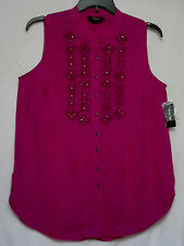 NWT Style & Co 0X  Deep Fuschia Pink Cotton Gauze Top Embroidered Shirt  NEW