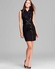 BURBERRY BRIT Women SLEEVELESS ZIP BELT CLASSIC TRENCH DRESS, BLACK - SZ 4 - NWT