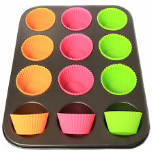 12 MUFFIN CUP CAKE PAN + 12 SILICONE CASES + NON STICK BUN FAIRY BAKING TRAY ===