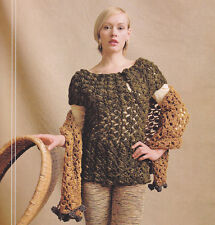 Crochet Pattern ~ LADIES SIDESADDLE CLUSTER PULLOVER & WRAP ~ Instructions