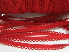 8 yards Red Elastic Band/Stretch Eyelet Scallop Edge 1CM Trim/Lace/Trimming T136
