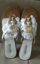 AUTH.BNIB KENNETH COLE  WOMEN'S SUNLINE LEATHER THONG SANDAL SZ. 8.5 (WHITE)