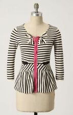 Anthropologie Moth Black White & Pink Striped Bow Four Petal Cardigan Sweater XS