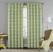 Single (1) Jacquard Window Curtain Panel: Sage Green, Metallic Floral Design