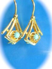 VINTAGE 14K YELLOW GOLD HOOK FINDING PIERCED TURQUOISE EARRINGS