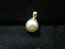 VINTAGE 14K YELLOW GOLD FINDING FINE PEARL PENDENT