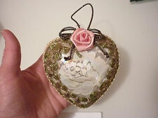 Vintage Unique Christmas Tree Ornament Hand Decorated Heart - Glass Lace Silk