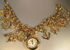 "KIRKS FOLLY ""NAUTICAL CHARM BRACELET/WATCH""-GORGEOUS-NEW BATTERY- #1 B-3 10/2"
