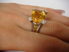 !UNIQUE 18K WHITE GOLD 11.0 CARAT CITRINE, RUBY AND DIAMONDS LARGE RING SIZE 7