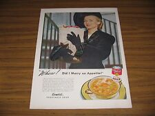 1947 Print Ad Campbells Vegetable Soup Happy Lady with Bag of Groceries