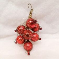 Antique Vtg Glass 7  Bead Xmas Ornament Wire Tinsel Wrapped Grape Fruit