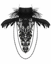 RQ-BL Gothic Victorian Steampunk Vintage Lace Feather Collar Ruffle Jabot