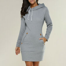 Women's Ladies Hoody Sweatshirt Long Sleeve Sweater Hoodies Bodycon Jumper Dress