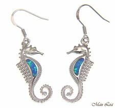 925 Sterling Silver Rhodium Hawaiian Seahorse Blue Opal Hook Wire Earrings