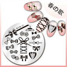 1Pc Stamping Plate Bownot Pattern 5.5cm Round Nail Art Image Plate Harunouta