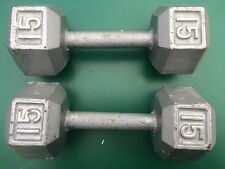 PAIR of 15 LBS IRON HEX Dumbbell Pounds  Weight  Dumbell gray