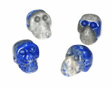 17X12MM  LAPIS LAZULI GEMSTONE BLUE CARVED SKULL HEAD LOOSE BEADS 8 BEADS