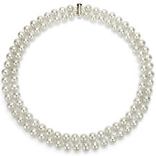Sterling Silver 2 Rows 8-9mm White Freshwater Pearl High Luster Necklace 17""